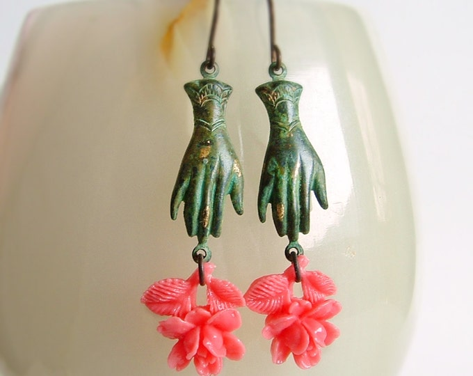 Victorian Hand Rose Earrings Vintage Verdigris Charms Dangle Earrings Victorian Hand Jewelry Victorian Flower Earrings