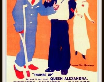 "Vintage British Poster Print  ""Fag Day"" 1917 - Giclee Art Print - Sailor Poster - Man Cave Art - Vintage Smoking Art"