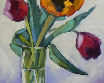 "Painting on Sale, Floral Still Life, Daily Painting, Sunflower Painting, Tulip Painting, 6x8"" Oil Still Life, Reduced from 119.95"