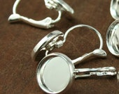 Silver Plated Lever Back Earring Ear Hook - Shiny Silver - 10mm tray - Earring Making- 10 pieces (5 pairs), bezel earring
