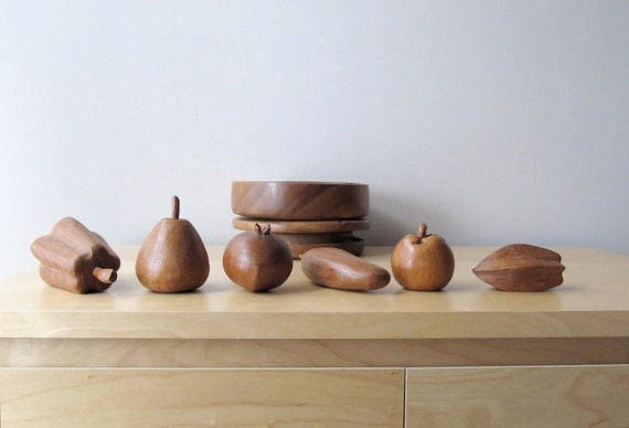 vintage wooden fruit turned wood lazy susan bowl