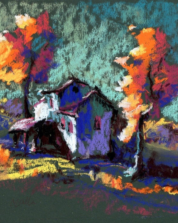 "Orange Trees and a Blue House, ""Southern Hacienda"" Giclee Print of an Original Pastel Drawing"