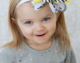 Gray and Yellow Chevron Layered Boutique Headband - Over the Top Hair Bow - Pagents - Photography Prop