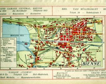 1921 Back to Back Vintage Maps of Chaux-de-Fonds and Bienne, Switzerland - Vintage City Maps - Old City Maps