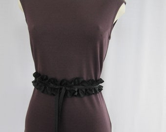 Gathered belt, black, 100% silk