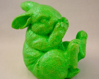 Green Giggling Bunny Figurine
