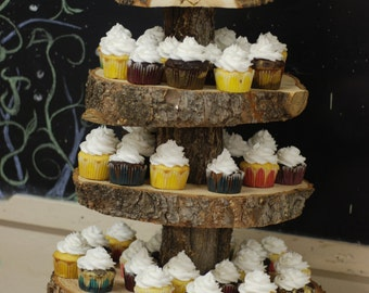 Rustic Wood Tree Slice 4-tier Cupcake Stand for your Wedding, Event, or Party (As seen on HGTV.com) Vintage, Shabby Chic, Heart and Arrow
