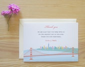 San Francisco Thank You Cards Package -  Downtown from the Golden Gate