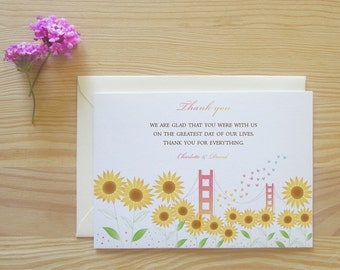 San Francisco Thank You Cards Package - Sunflowers