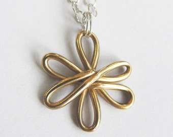 READY TO SHIP-Solid Gold Flower Necklace