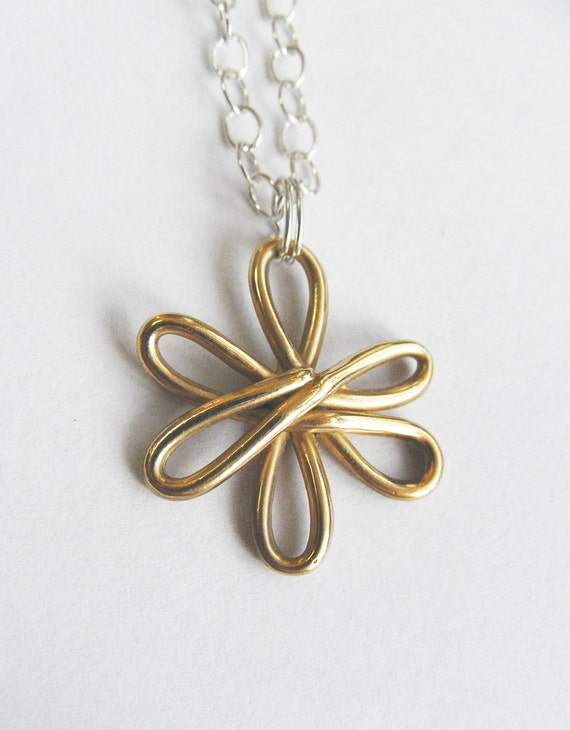 ON SALE-Solid Gold Flower Necklace