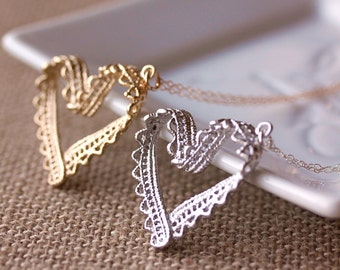 Lace Ribbon Heart Necklace-Sterling Silver Chain,Gold filled Chain,Gold Heart, Silver Heart Necklace,Gift for Her, Metal Lace Heart Necklace