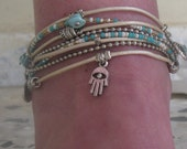 Turquoise Anklet - Ankle Bracelet - Barefoot Ankle Bracelet - Ankle Wrap - Best Boho Bracelet - Choose FOUR Charms - Customizable