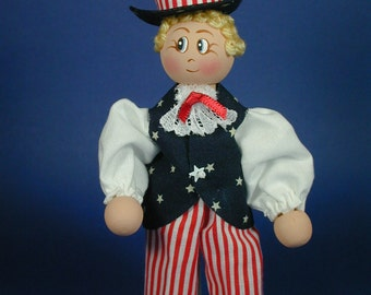 Patriotic Boy Clothespin Doll, Memorial Day Hostess Gift, July Fourth Decoration