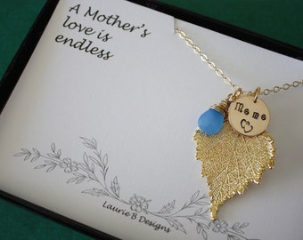 Personalized Grandma Necklace, Leaf Necklace, Grandma Charm Necklace, Birch Leaf, Gold Necklace, Mothers Card, Mothers Day Gift