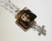 "Renaissance JESUS PORTRAIT NECKLACE Glass Tile & Repurposed Rosary Beads Correggio ""Head of Christ"" Cross Charm Filigree"