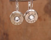 Bullet Jewelry - 38 / 357 / 40 S&W Bullet Casing Leverback Earrings - APRIL Birthstone - Diamond Swarovskis -