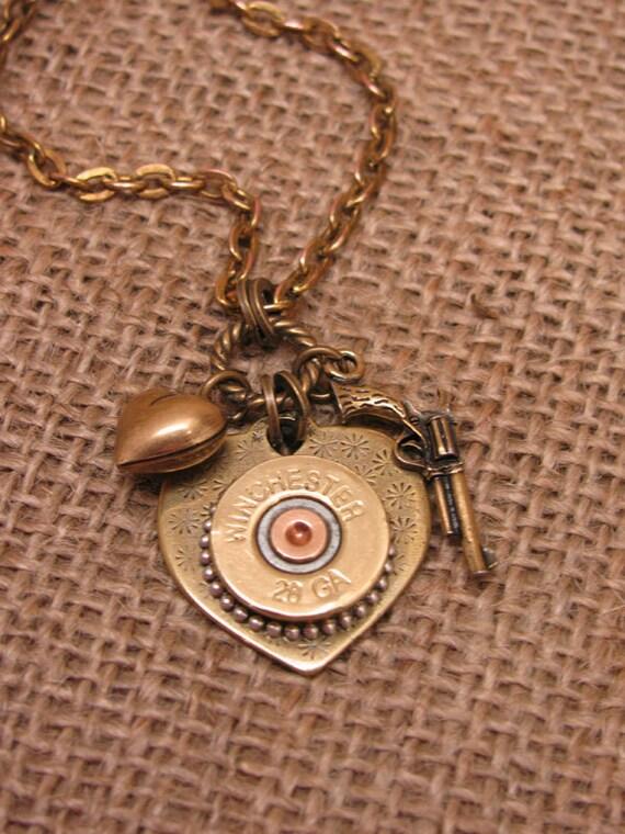 Bullet Jewelry - Shotgun Casing Jewelry - Shot Thru the Heart Necklace - Brass Heart Pendant w/ 28 Gauge Shotgun Casing/Pistol/Heart Charm
