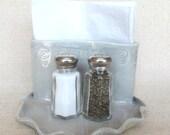 Salt and Pepper Napkin Holder Caddy Pale Blue Pottery Set