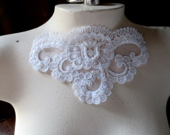 WHITE Beaded Lace Applique for Lyrical Dance, Ballet,  Bridal, Appliques, Costume Design BRI 25white