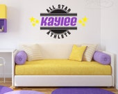 All Star Girl Athlete Personalized Decal, sports sticker, team wall art