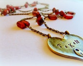 Valentine Heart Necklace Love Long Necklace Doubled Sided Heart Necklace Valentines Day Whimsical Jewelry