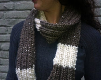 Dressy Wool Scarf with Stripes and Glitter Ribbon