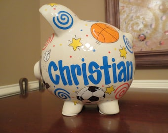 Large Personalized Sports Piggy Bank- Red/Blue