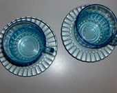 2 Blue Glass Coffee Cup and Saucer Sets