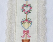 SALE Cross Stitch Bookmark, Floral Topiary, Heart Wreaths, Lace Edge Marker, Needlework Bookmark, Embroidered Page Marker