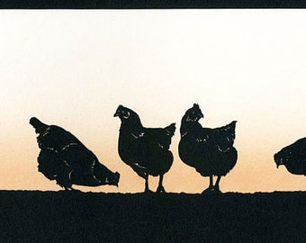 Hens Hand-Cut Papercut (Large)
