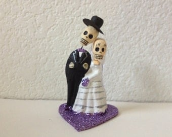 Light Purple Till Death Do Us Part Skeleton Bride and Groom Cake Topper - Halloween, Wedding, Engagment Party, Day of the Dead