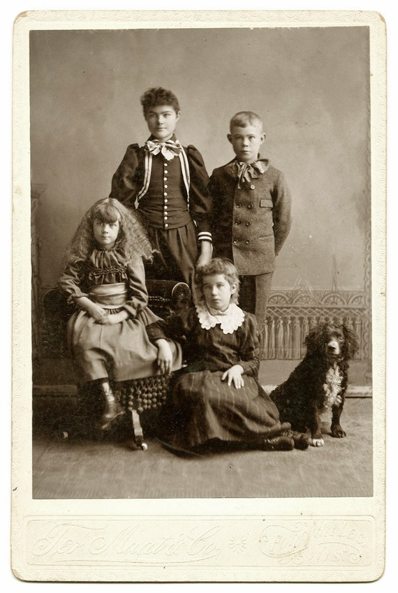 Spaniel Dog with Children Cabinet Card