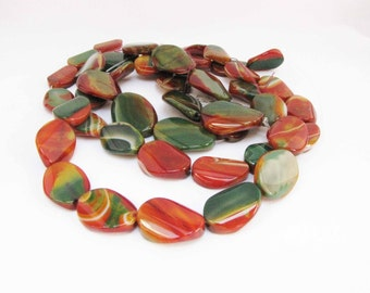 Agate Semi Faceted Beads Red Green Striped Agate Oval Semi faceted Agate Semiprecious stone 5 Beads #177