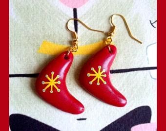 Earrings - Atomic Boomerang Red