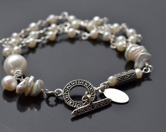 fatdog Bracelet - B1087 Freshwater Pearl with Sterling Silver and Marcasite Toggle Clasp - 7 1/4 Inch