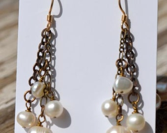 fatdog Earrings - E24 White Freshwater Pearls and Brass Chain