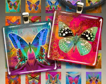Printable download BUTTERFLIES Digital Collage Sheet 1x1 inch and 7/8x7/8 inch size images for square pendants, magnets, paper scrapbook