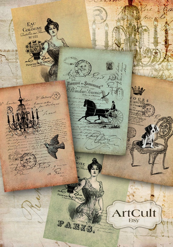 Printable download  FRENCH BOUTIQUE TAGS Collage Sheet print-it-yourself Vintage Craft Paper Jewelry holders decoupage Gift tags ArtCult