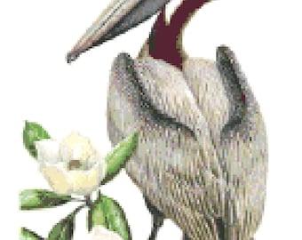 Louisiana State Bird & Flower Counted Cross Stitch Pattern