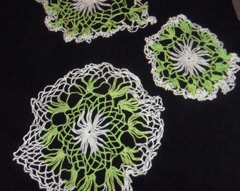 5 Crochet Mint Lime Green White Doilies Doily lot