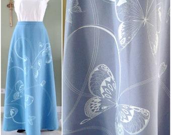 Vintage Shaheen Maxi Skirt, Miss Shaheen Hawaiian Butterfly Summer Maxi Skirt, 1970s  Long Floor Length Skirt