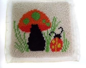 70s Hooked Rug / Vintage Mushroom Hooked Rug /  Mushroom Wall Hanging / Mushroom Ladybug Pillow