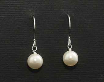 Bridesmaid Drop Earrings, Simple Pearl Bridesmaid Jewelry, Classic Pearl Earrings in Your Wedding Colors-- SAVANNAH II