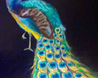 Portrait of a Peacock Painting on Panel