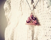 Leather Flower Triangle Pendant Necklace