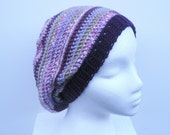 SALE, Slouch Hat in lavender, purple, pink and sage stripes, crochet slouchy, ready to ship.