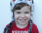Unisex Toddlers Crochet Owl Hat in White and Grey with Black, ready to ship.