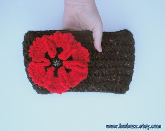 Black Clutch Purse with Large Red Poppy, lined crochet handbag, zipper closure, ready to ship  .
