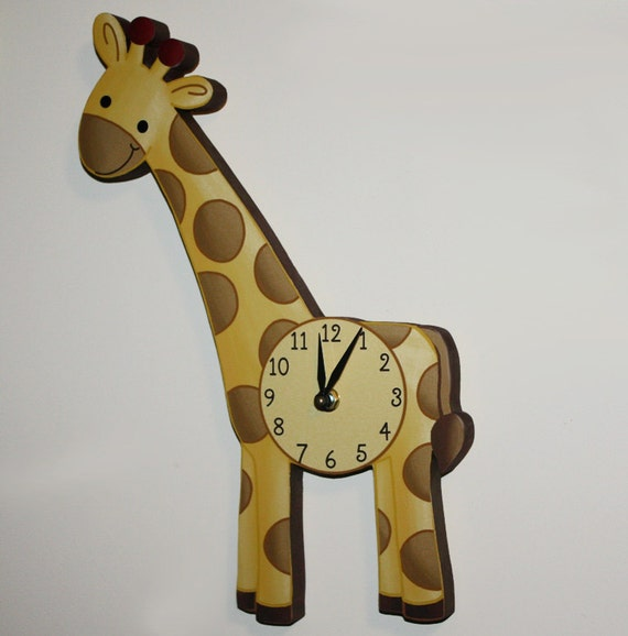 Giraffe wooden wall clock for kids bedroom baby nursery wc0068 for Wall clock images for kids